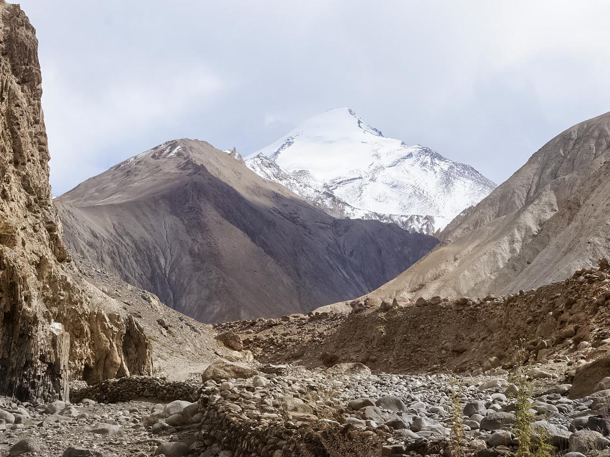 Hiking in India through beautiful Markha Valley rocks mountains