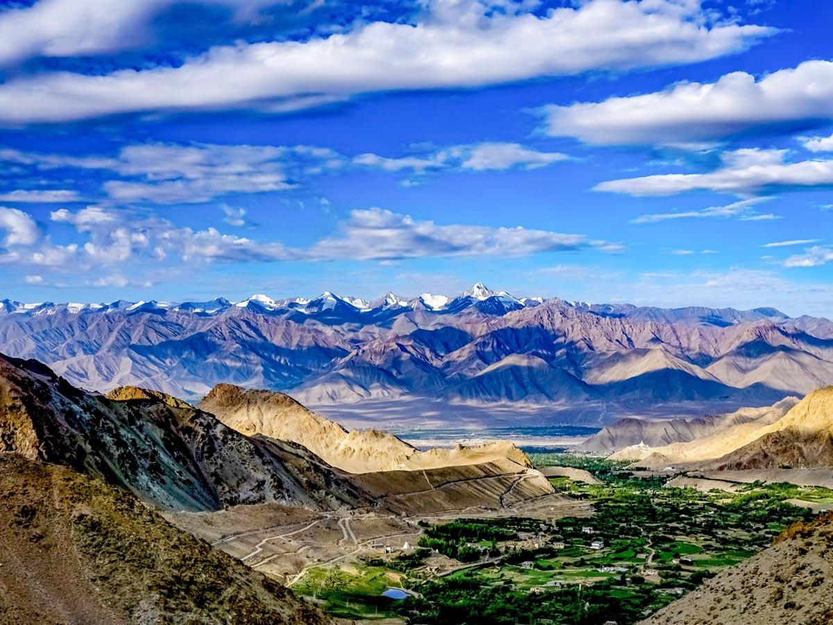 Stunning Himalayan mountains seen along safari tour in India