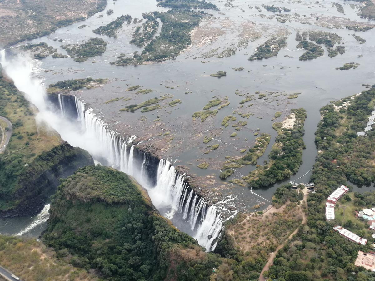 Looking at Victoria Falls from the above