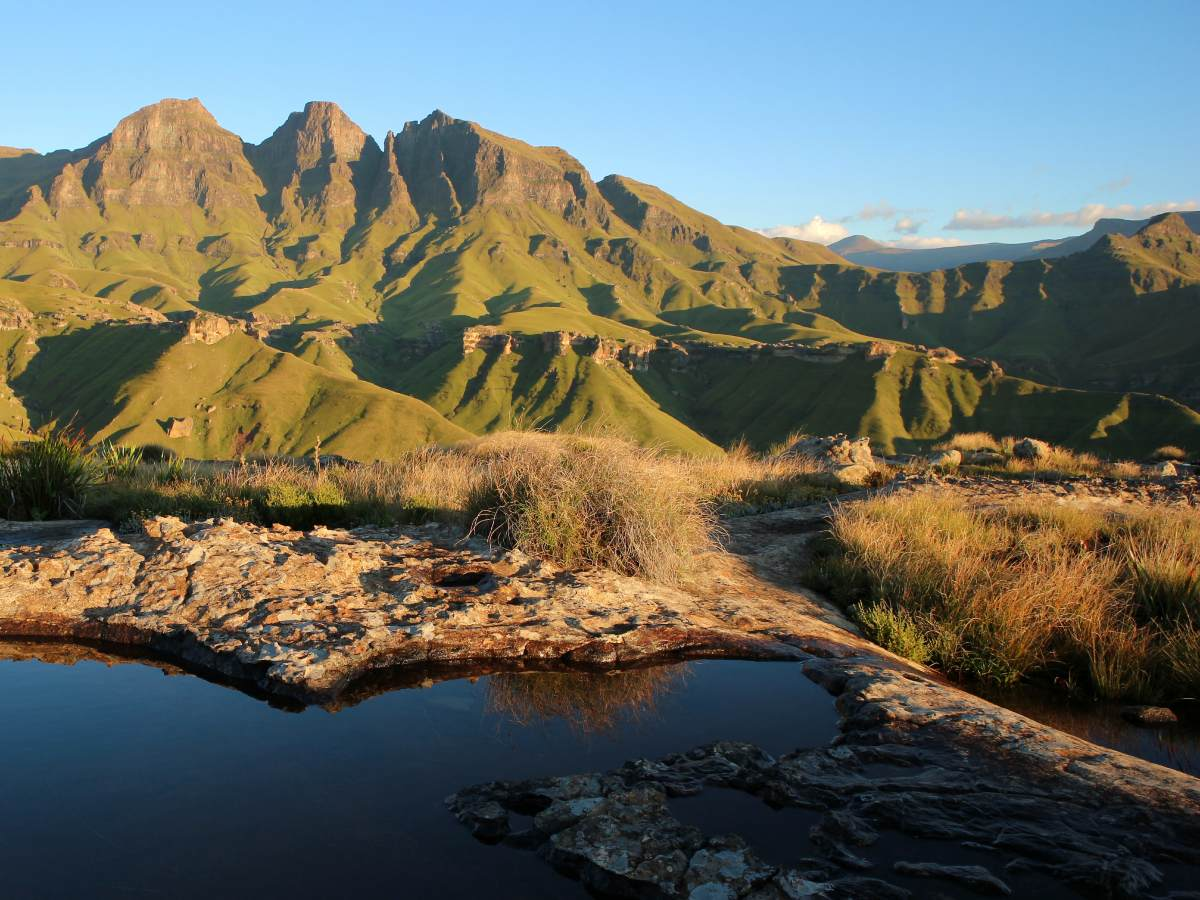 Drakensberg Mountains in South Africa seen on Country tour