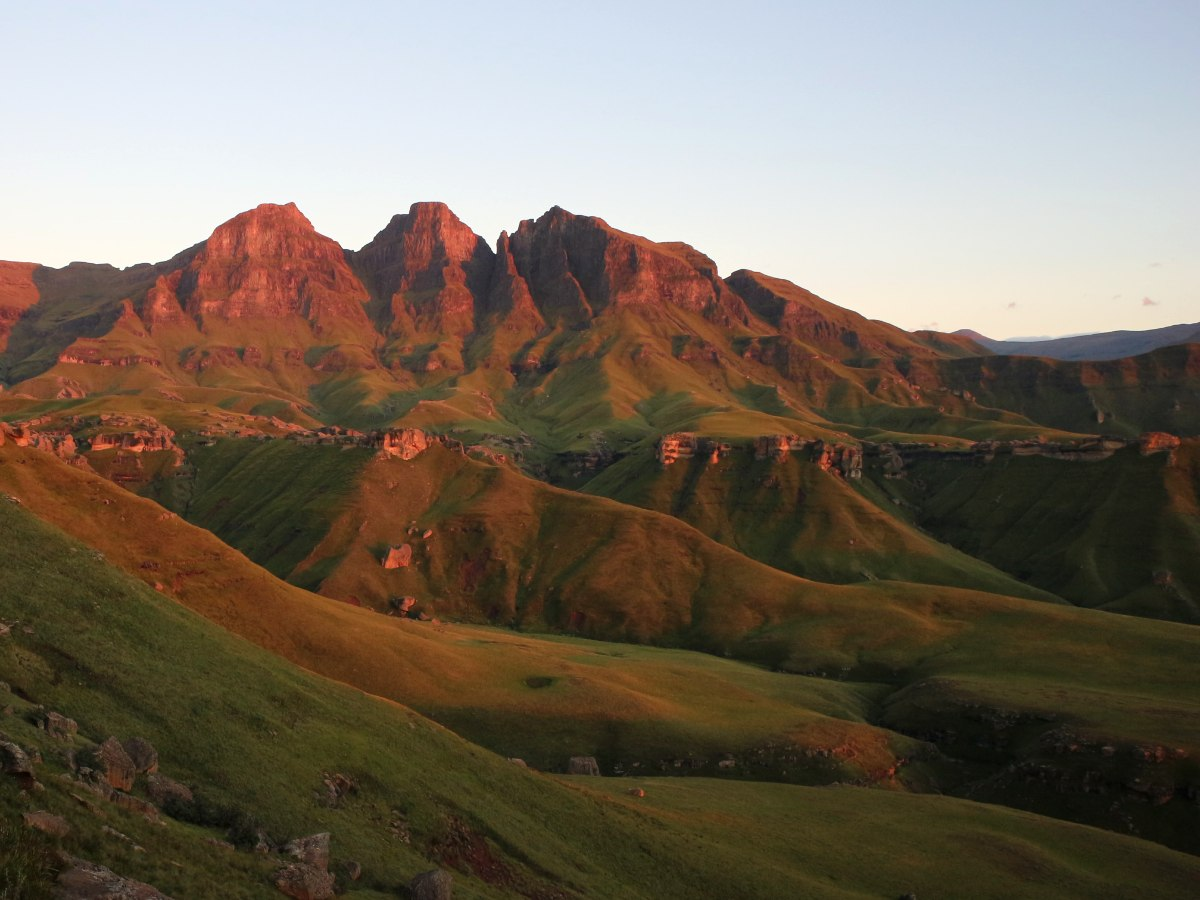 Drakensberg mountains and the sunset South Africa