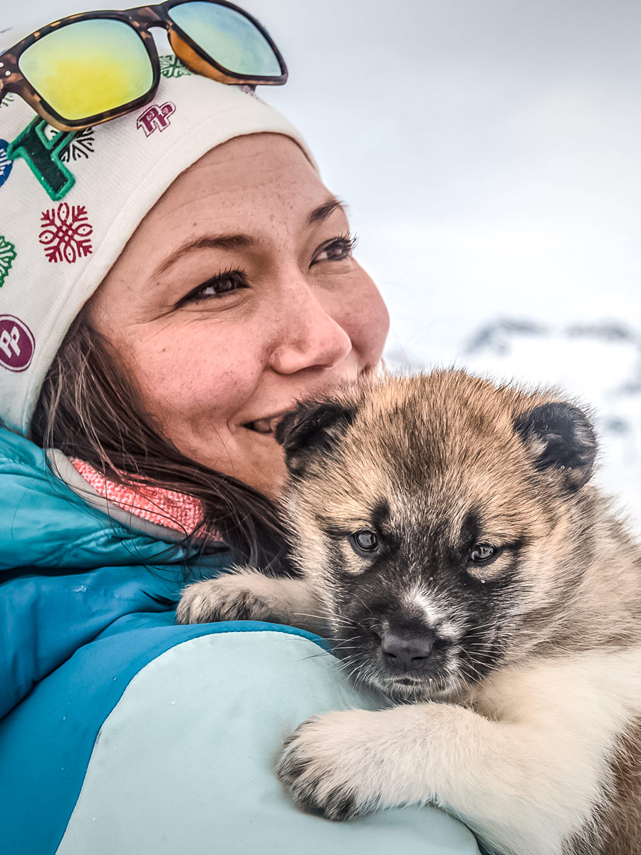 Tourist holding cuddles sled deg puppy dogsledding tour Greenland