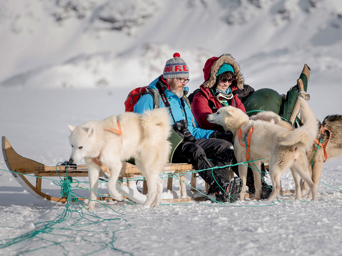 Tourists petting playing with sled dogs along Dog Sledding tour Greenland