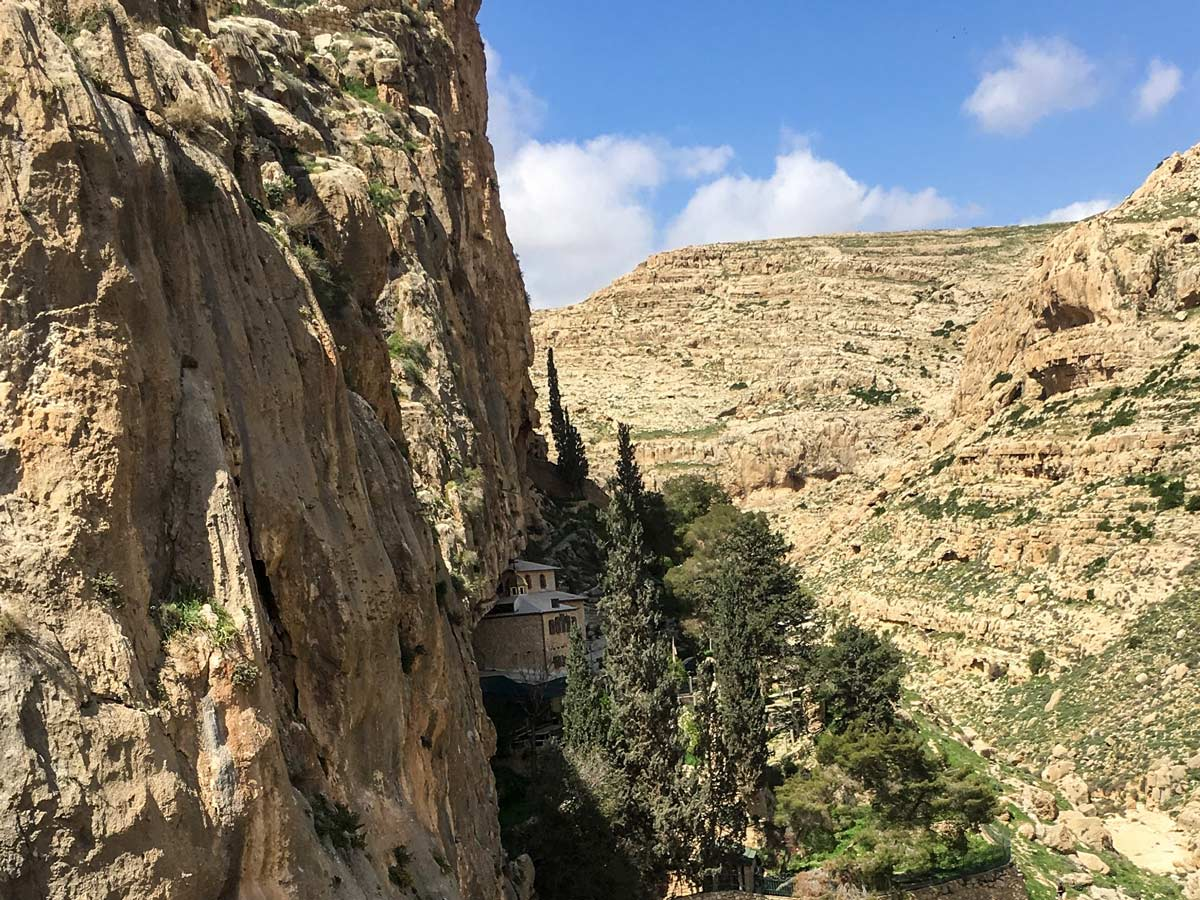 Farran in the mountainside hiking Jericho to Jerusalem trekking in Israel