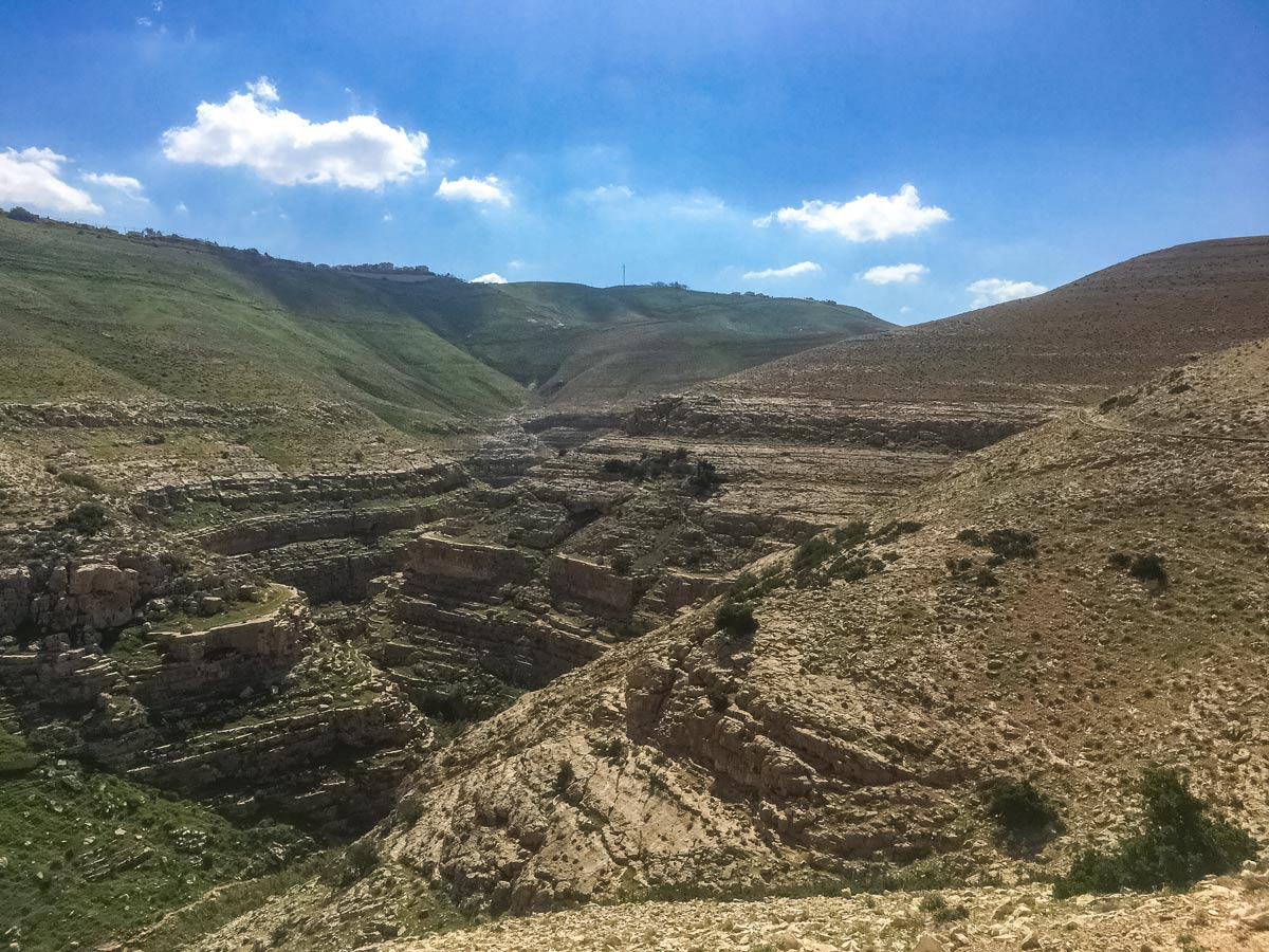 Wadi Qelt from above hiking Jericho to Jerusalem Israel