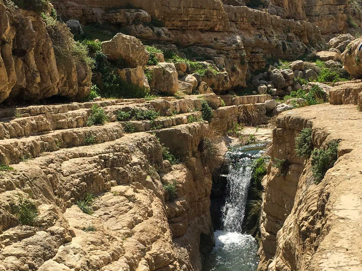 Beautiful waterfalls hiking Jericho to Jerusalem Israel