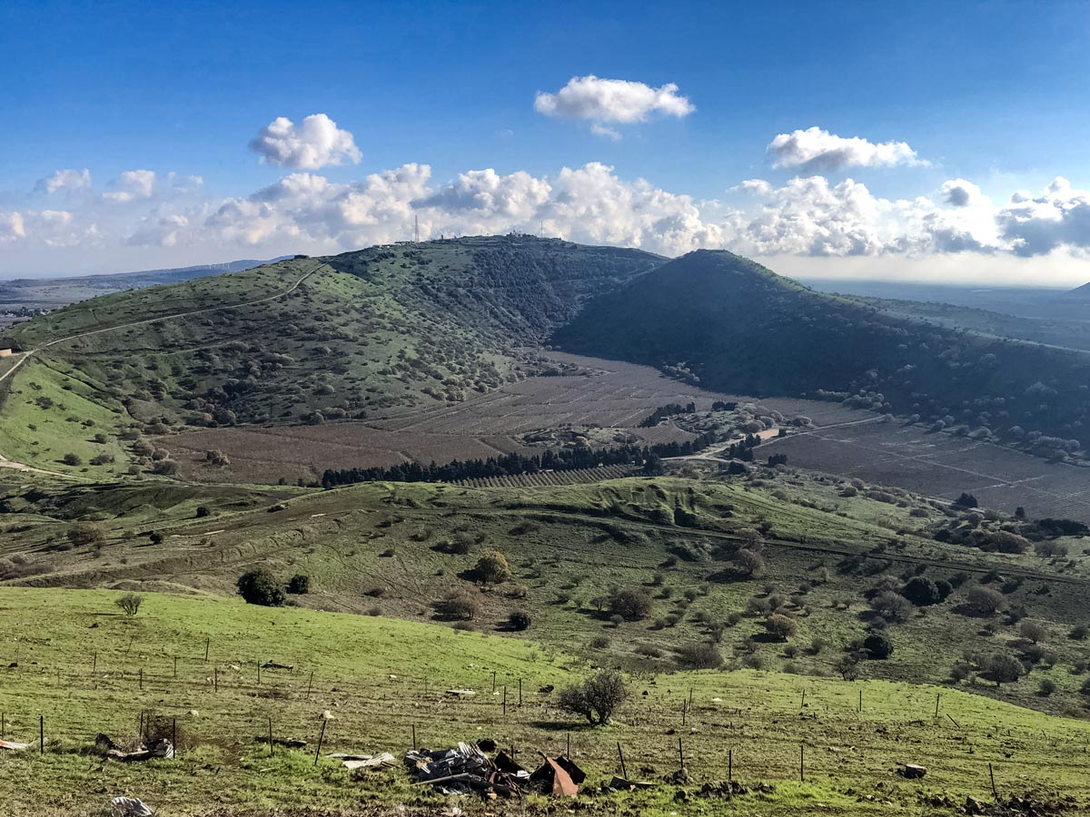 Beautiful mountains farmland along Golan hike Israel