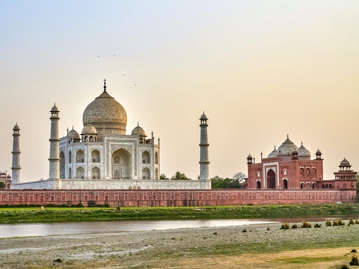 White marble Taj Mahal tomb in Agra India two day adventure tour