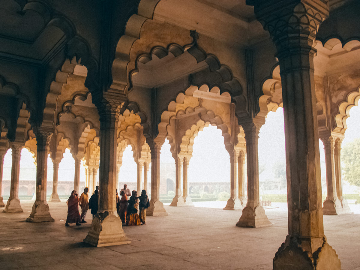 Stunning stone arches at the Red Fort in Agra India two day adventure tour