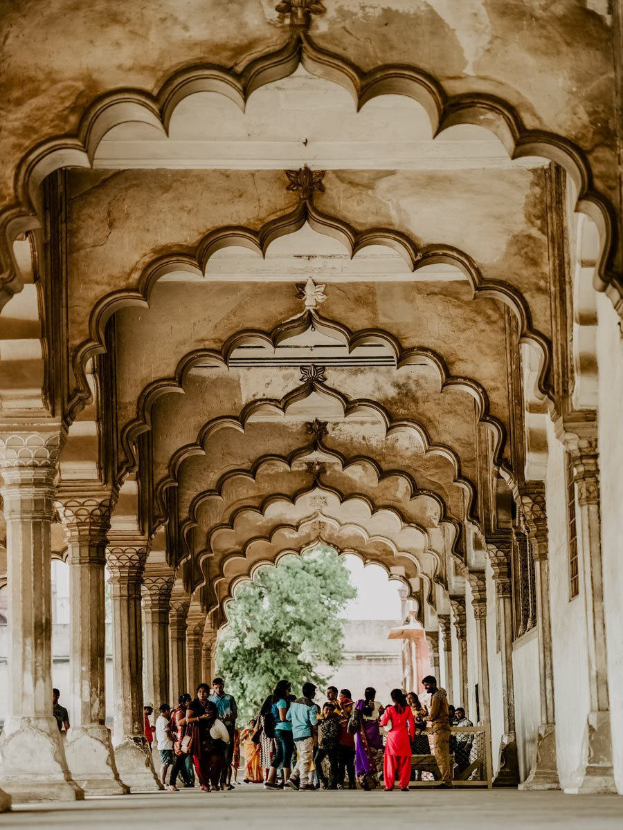 Beautiful stone arches at teh Red Fort in Agra India