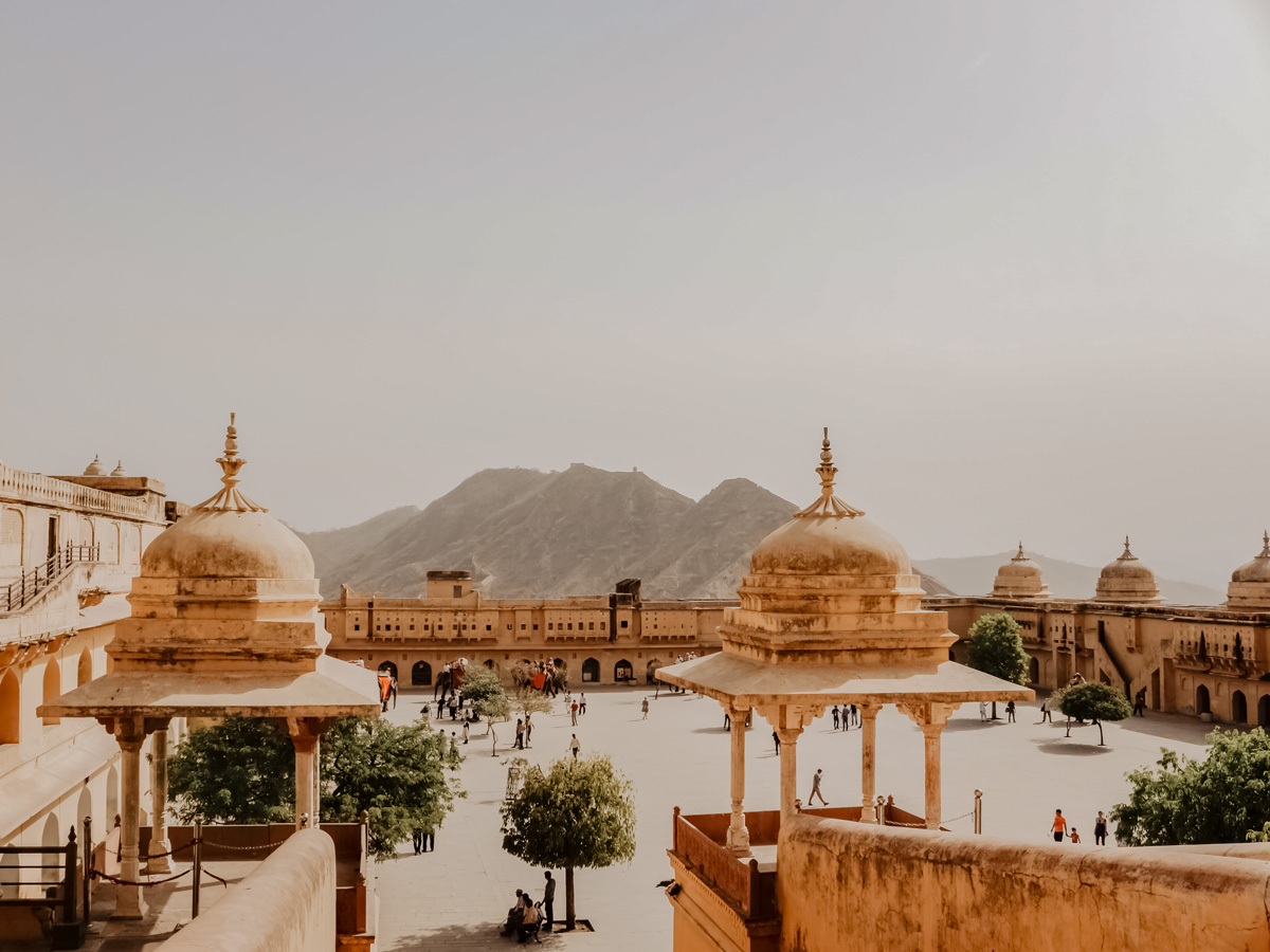 Amber Fort in Jaipur India seen touring India