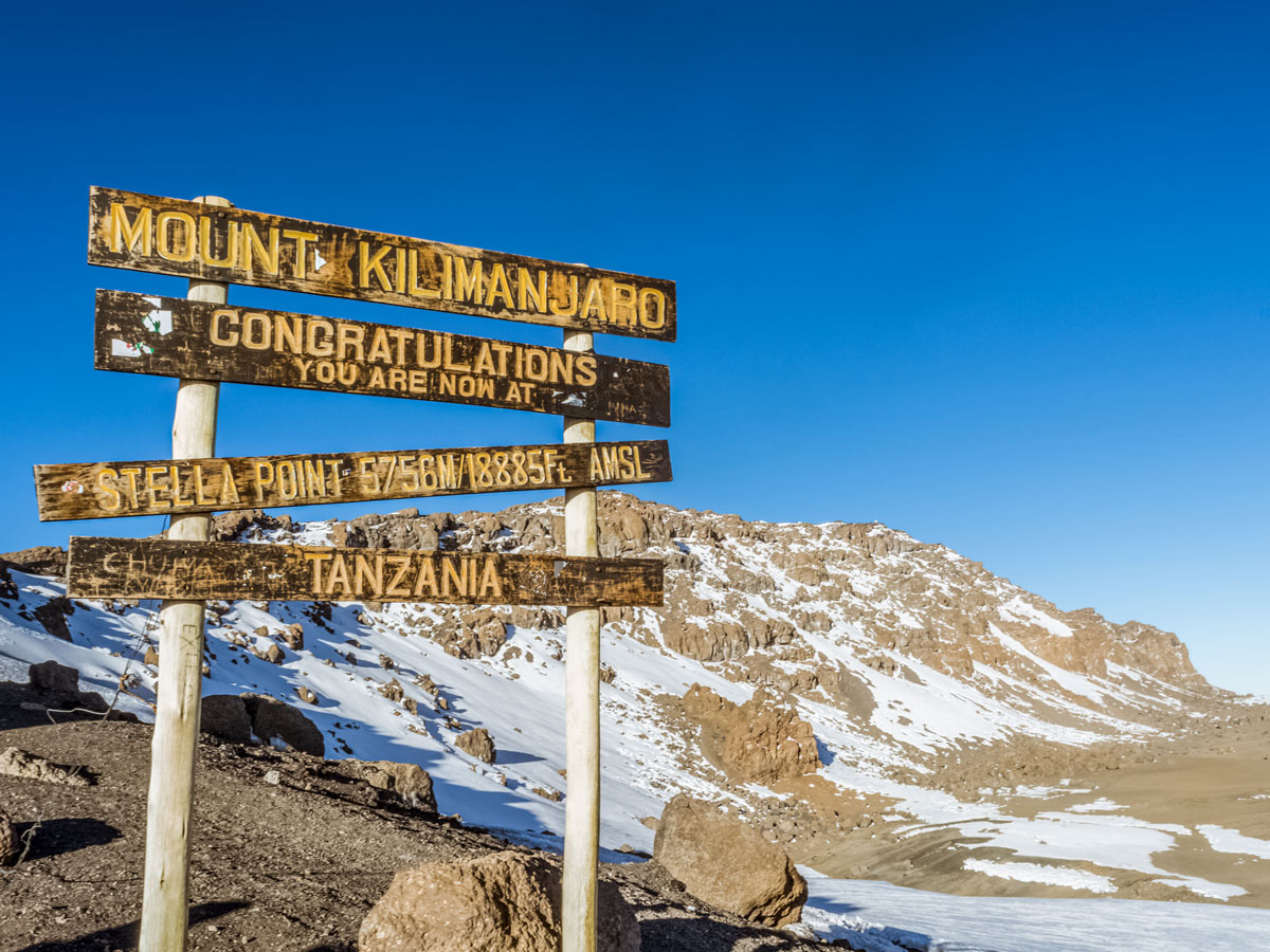 Stella Point trail sign Machame hiking Tanzania