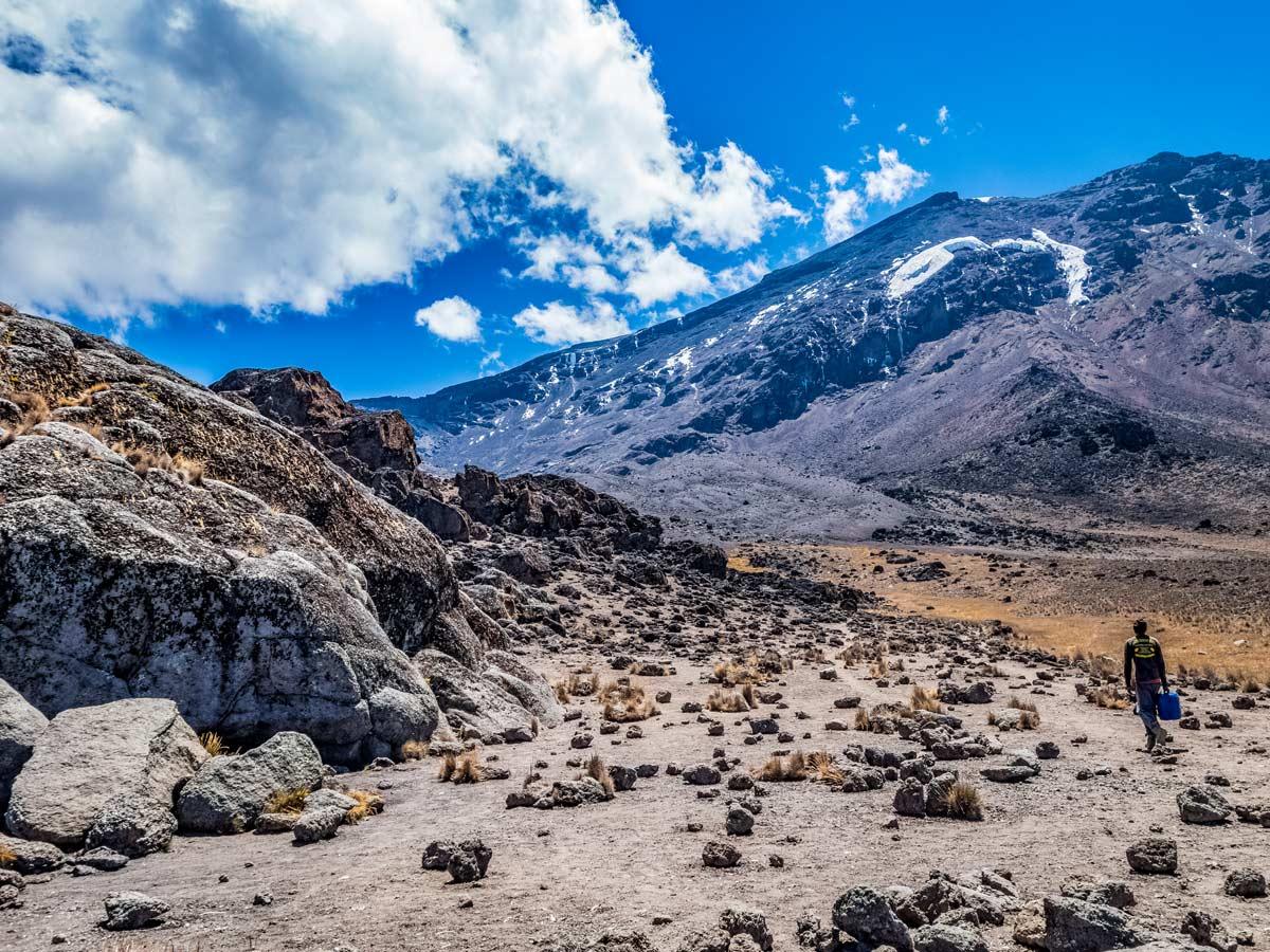 Machame trail through beautiful mountains in Tanzania