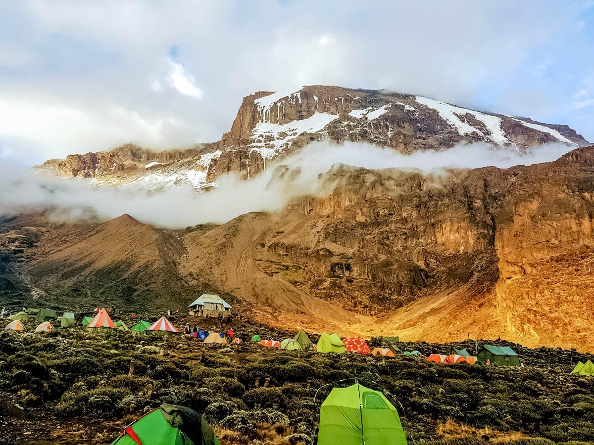 Machame trail Kilimanjaro base camp in Tanzania