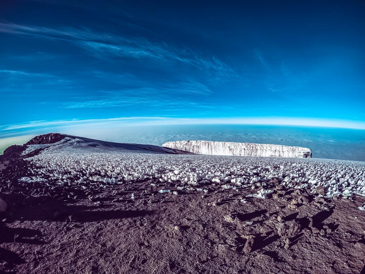 Ice on summit horizon view from Uhuru Peak hiking Kilimanjaro Tanzania