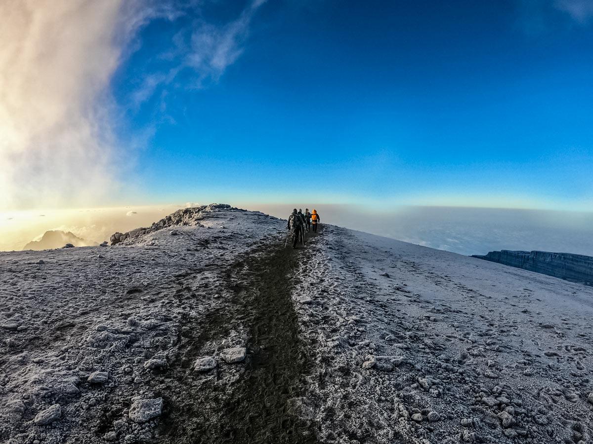 Hikers trekking Mount Kilimanjaro mountian top Rongai route Tanzania