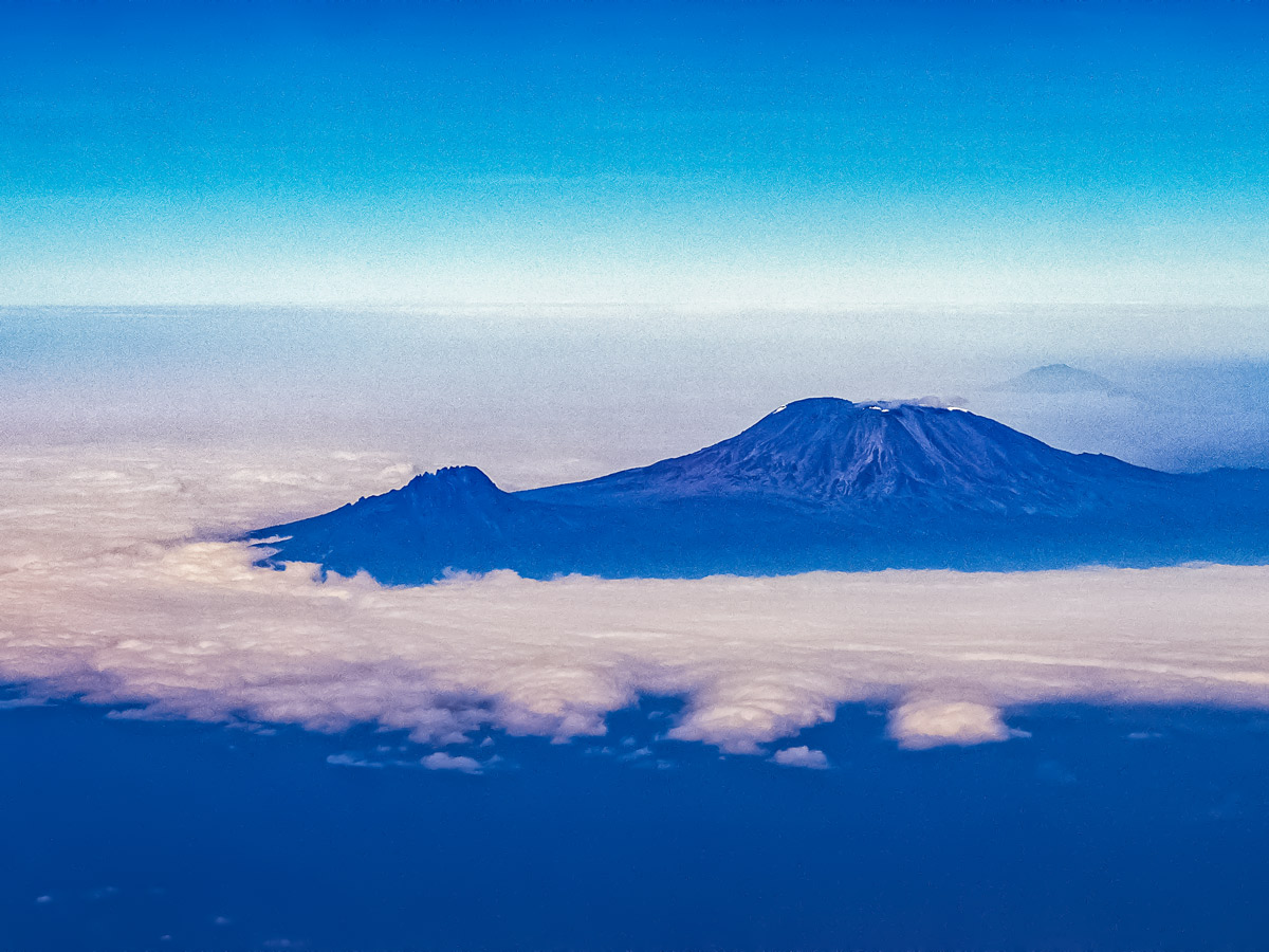 Aerial view of Mount Kilimanjaro summit Tanzania