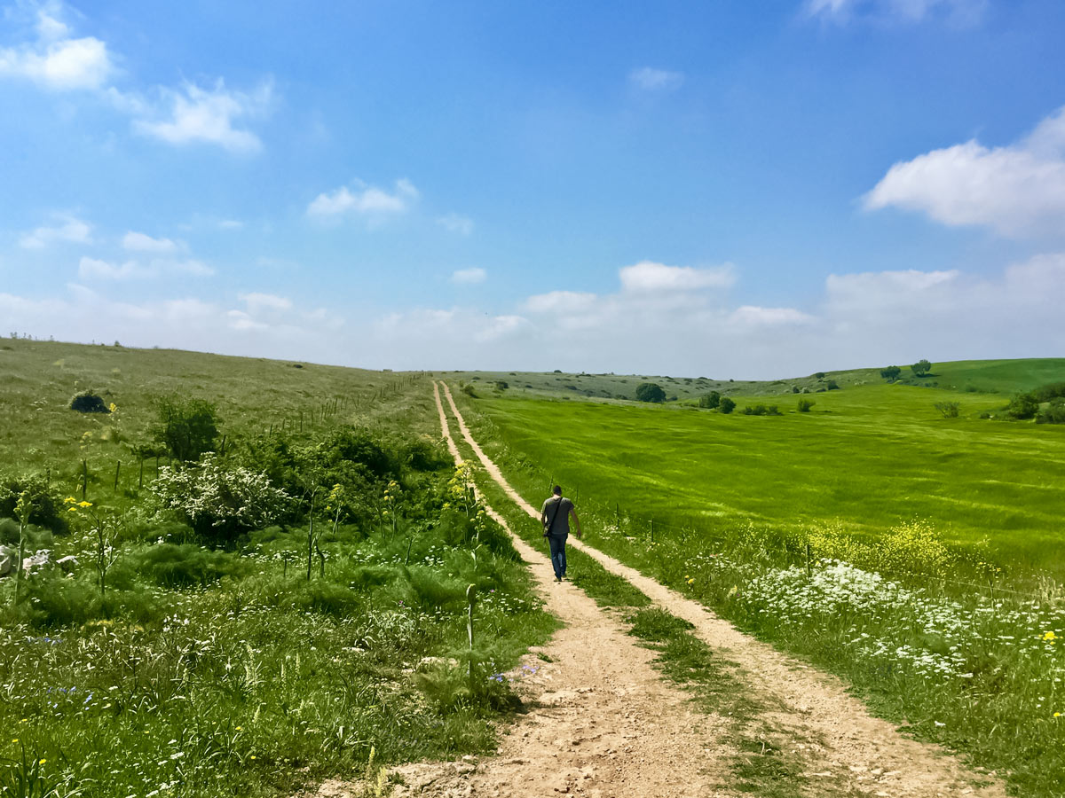 Hiking old dirt roads beautiful pastures Italy