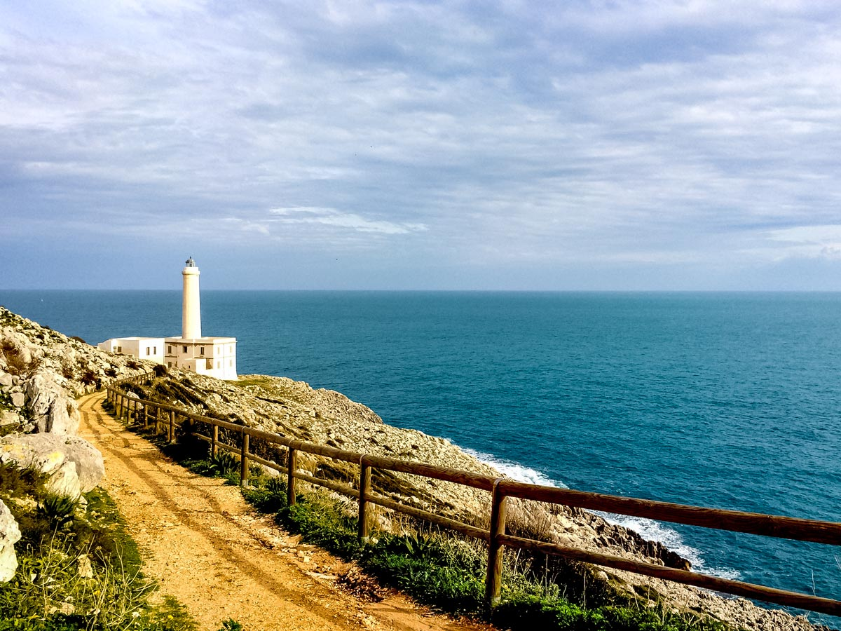 Palasc a lighthouse by the ocean cycling tour Salento Italy