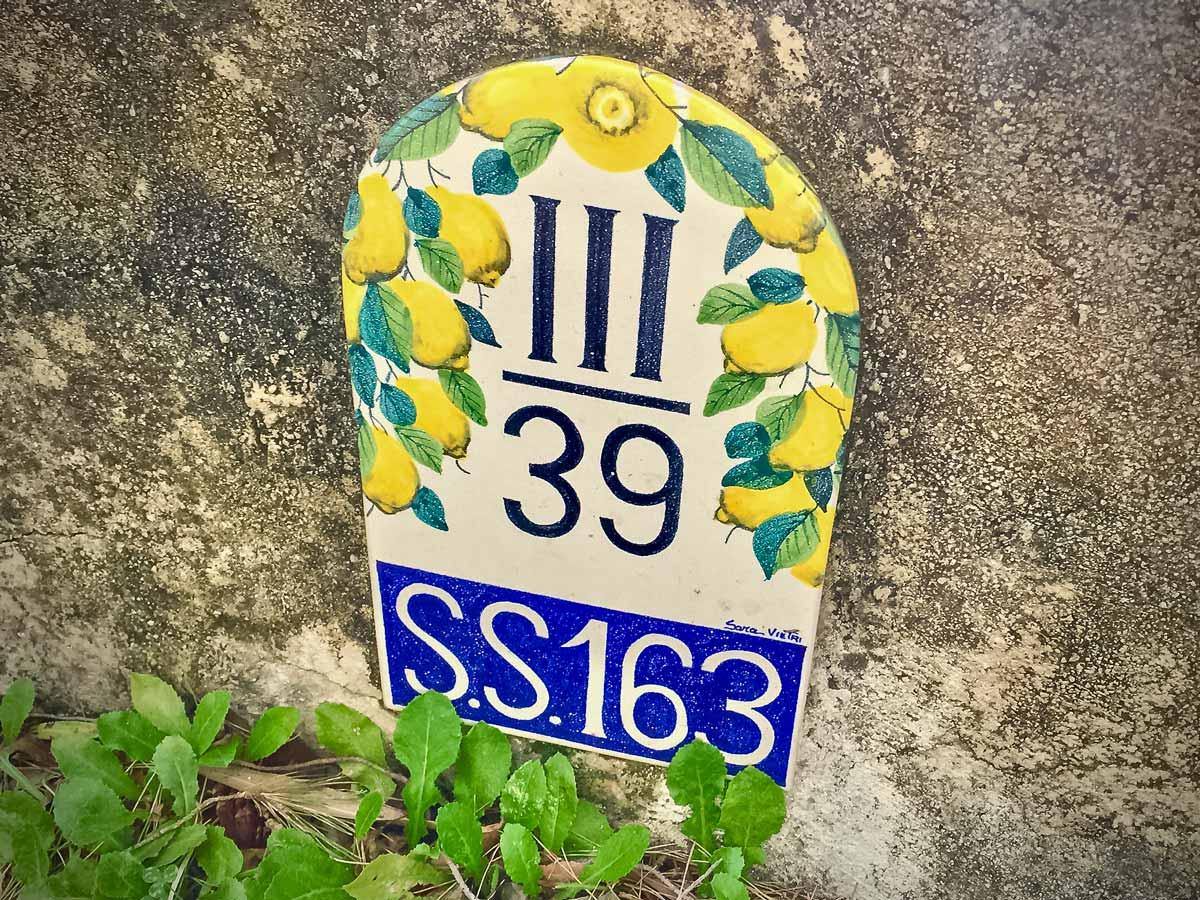 Lemon path trail road sign walking Amalfi Coast Italy