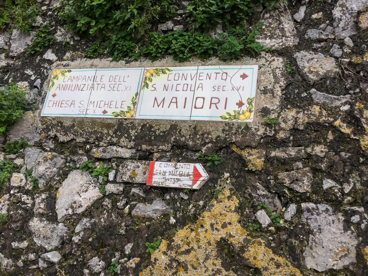 To Maiori trail sign walking Amalfi Coast Italy
