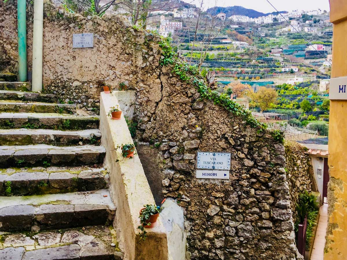 To Minori trail sign stone steps and houses walking Amalfi Coast Italy