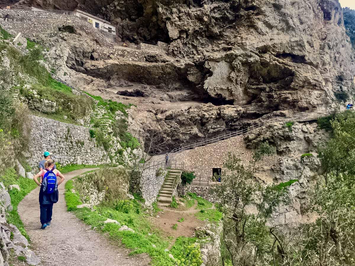 Beautiful hiking trails stone paths walking Amalfi Coast Italy