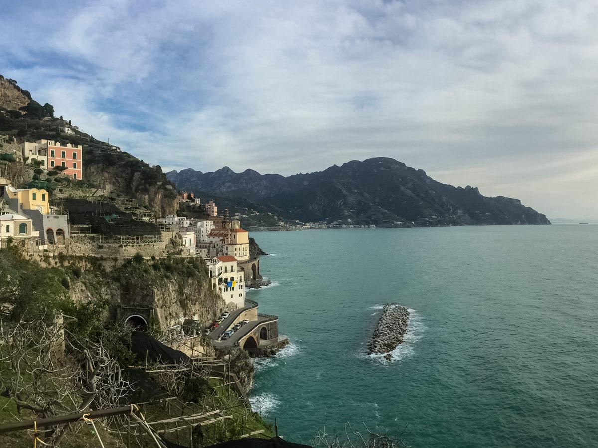 View of the sea walking Amalfi Coast Italy