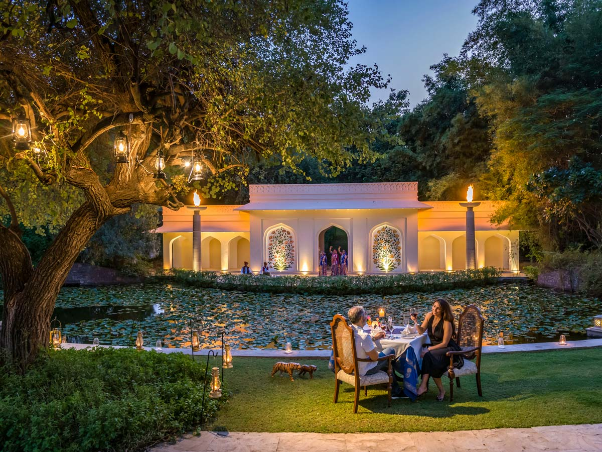 The Oberoi dining in the garden Vanyavilas Ranthambore India