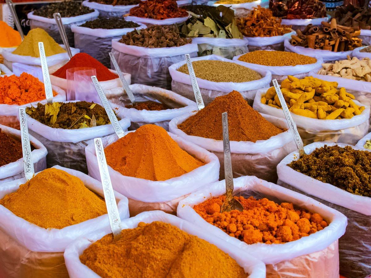 Spices in the markets of Kerala India