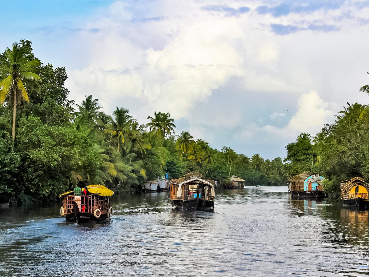 River houseboat transportation in water chanels of Kerala India