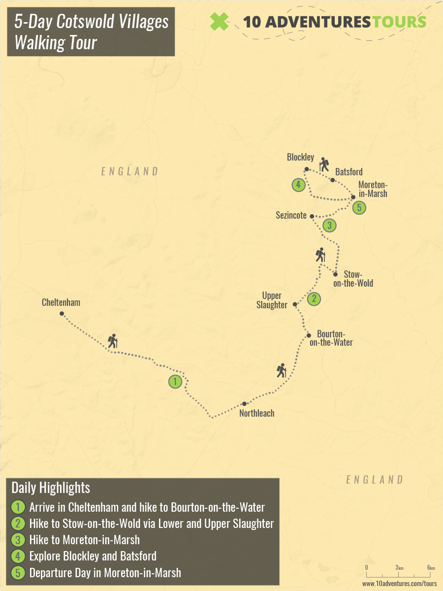 Map of 5-Day Cotswold Villages Walking Tour