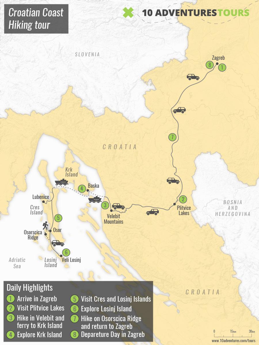 Map of Croatian Coast Hiking tour