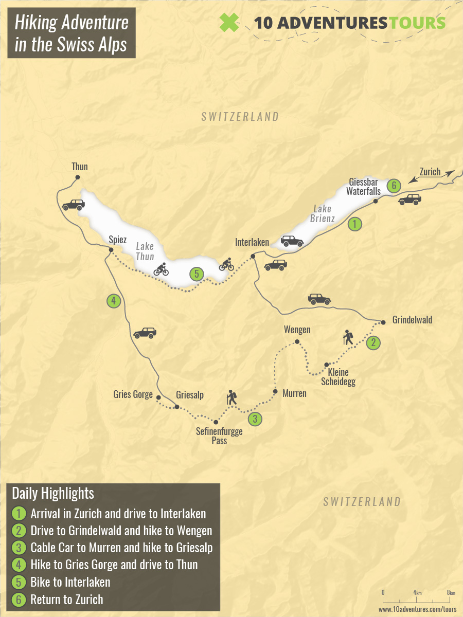 Map of Hiking Adventure in the Swiss Alps