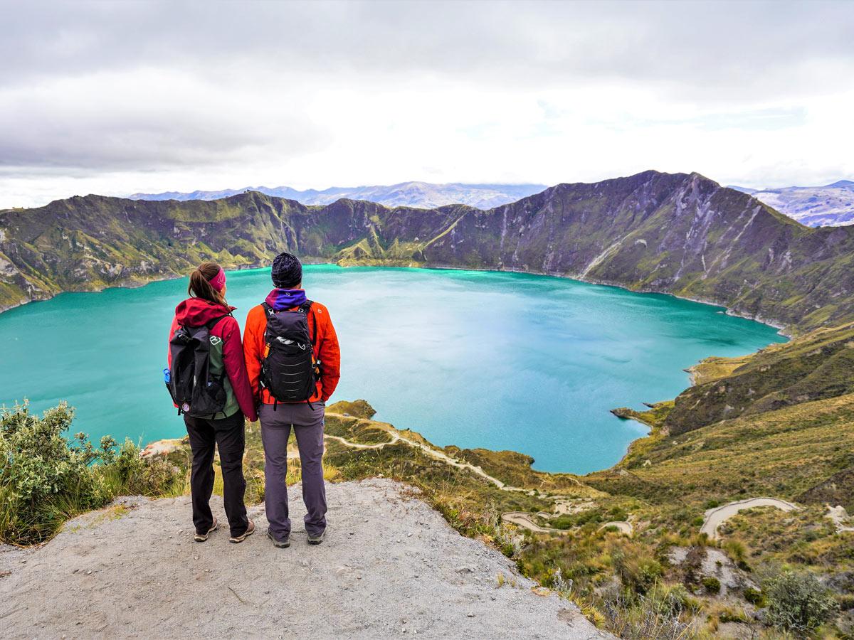 Beautiful lake hiking trekking adventure tour Peru Ecuador