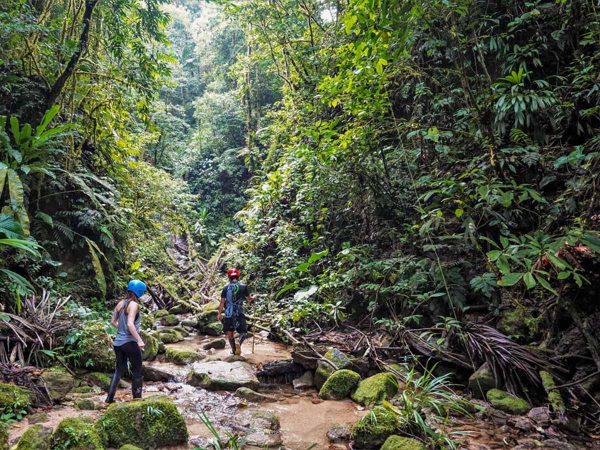Guided trekking through rivers jungle adventure tour Peru Ecuador