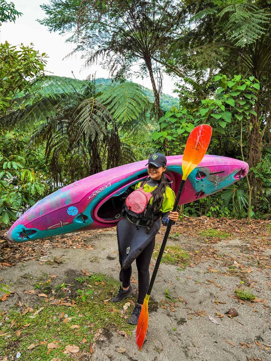 Kayaking along adventure tour Peru Ecuador