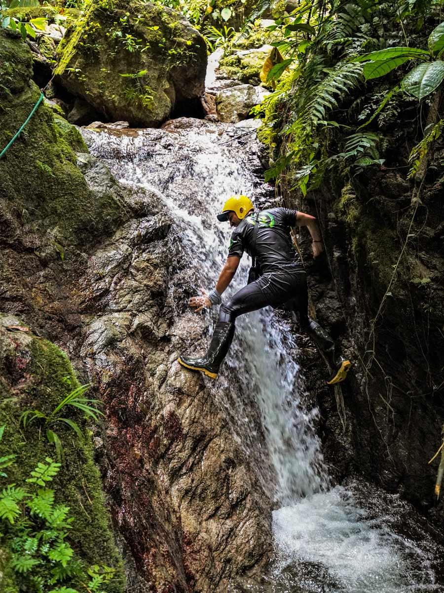 Climbing natural features rivers waterfalls adventure tour photo Peru Ecuador