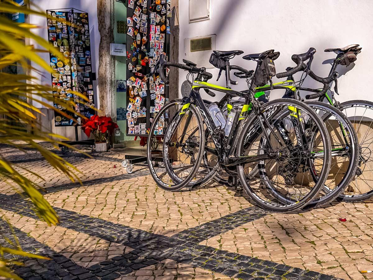 Road biking in Portugal bikes on cobblestone streets