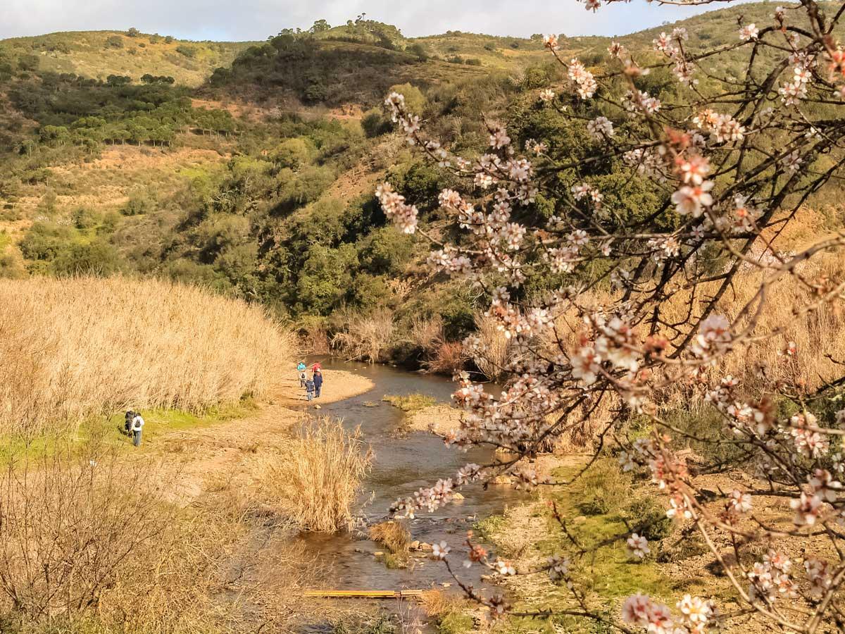 Road biking in Portugal adventure tour walking by river flowers