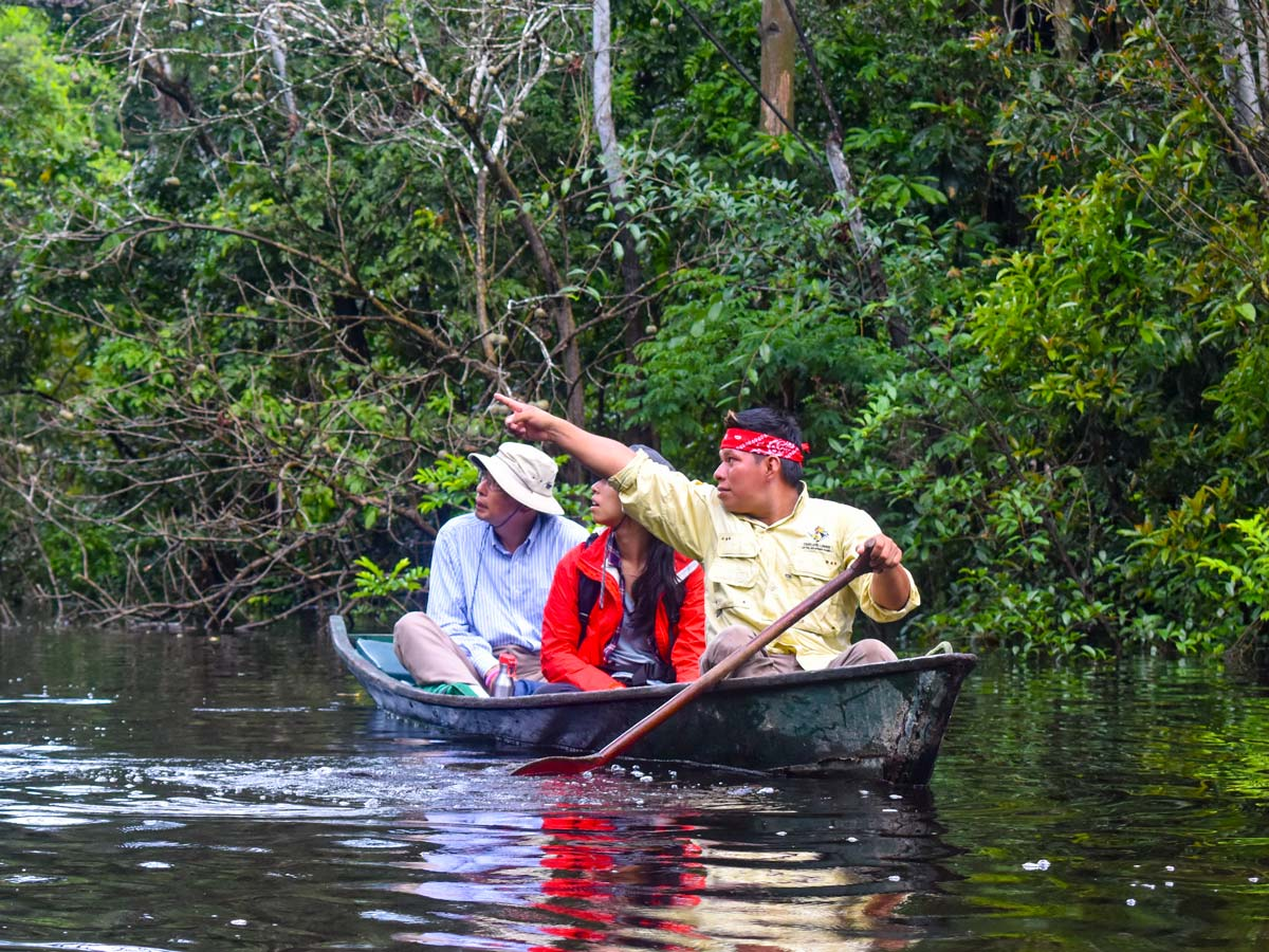 Amazon boat sightseeing camping expedition Peru