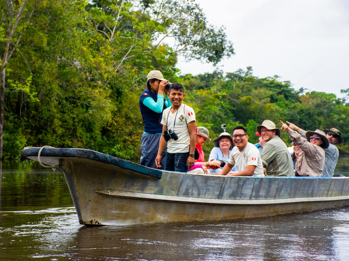 Amazon sightseeing wildlife tour by boat camping expedition Peru
