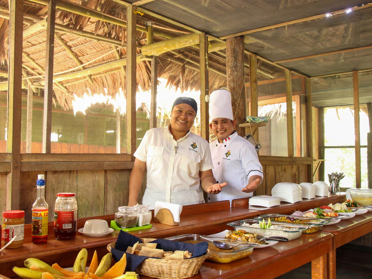Gourmet traditional local buffet food along fishing expedition Peru