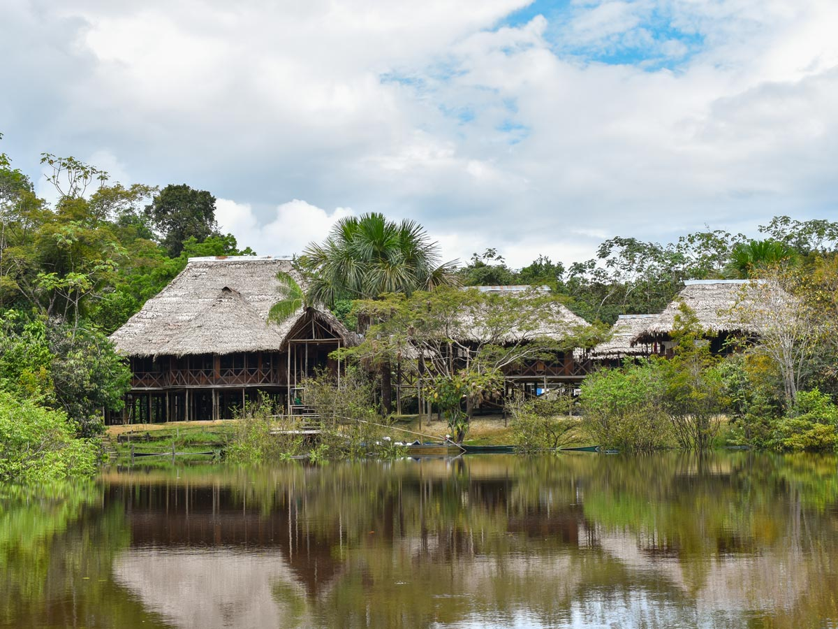 Amazon general tour expedition main camp on the river banks Peru