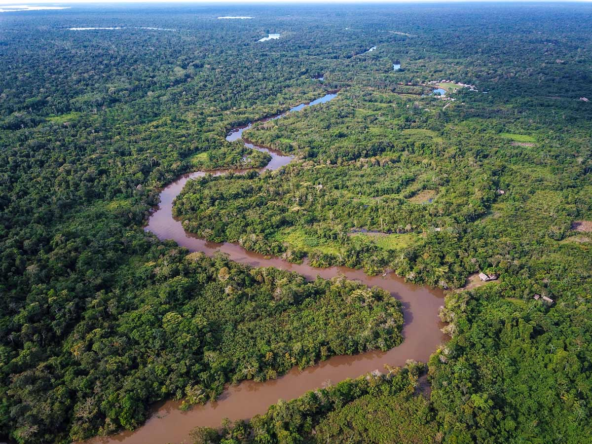Beautiful river jungle rainforest Peruvian Amazonia survival training expedition