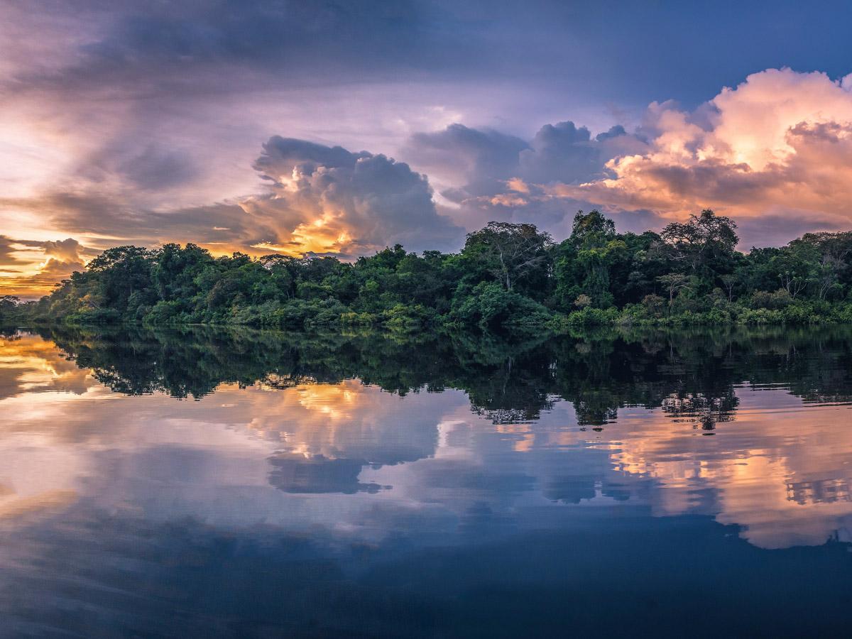 Beautiful natural jungle sunset Peru Amazonia survival training expedition