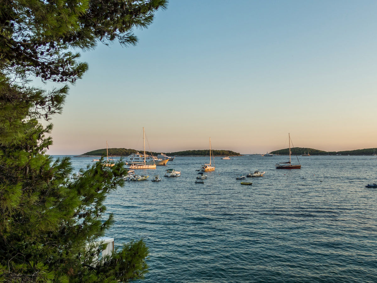 Sunset sailboats on the sea ocean