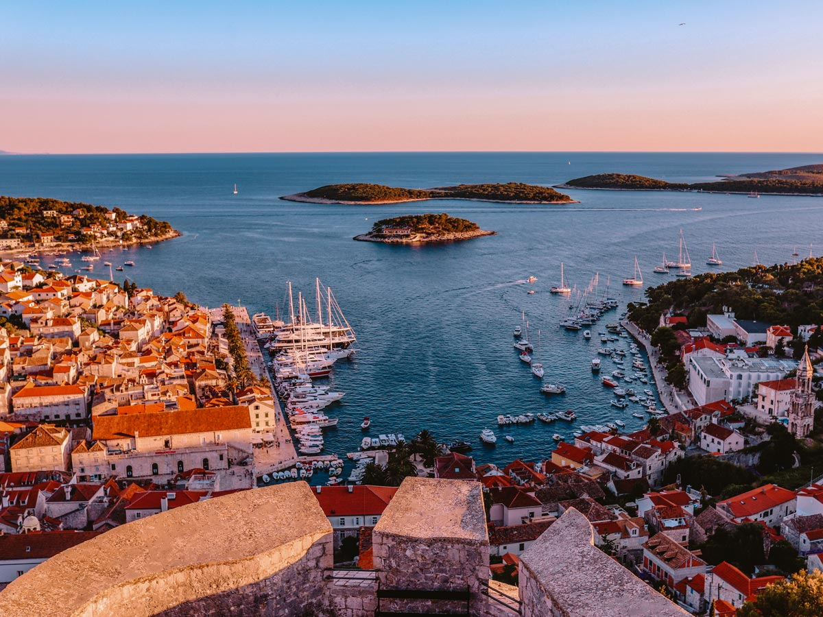 City boat docks harbour islands sunset