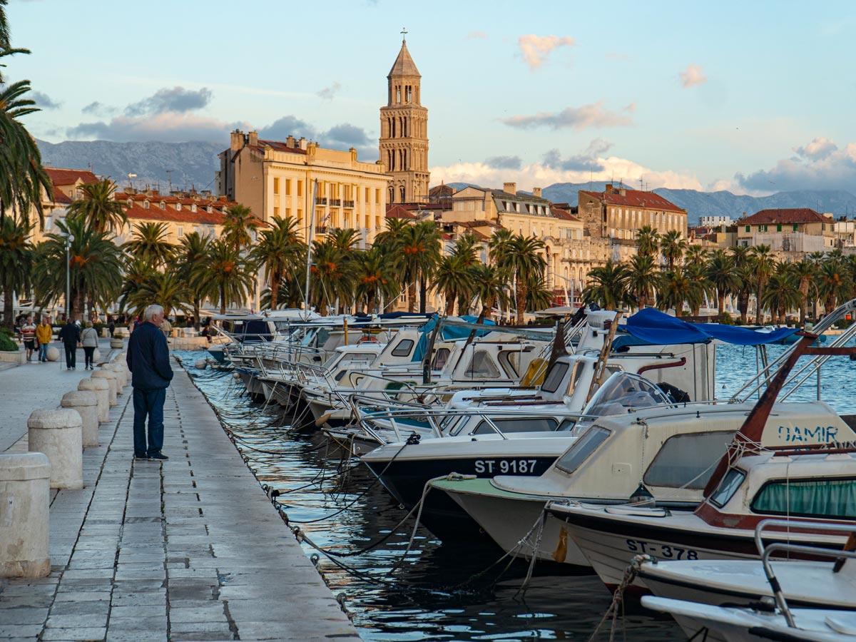 Split Croatia walking by the sea boat docks adventure tour