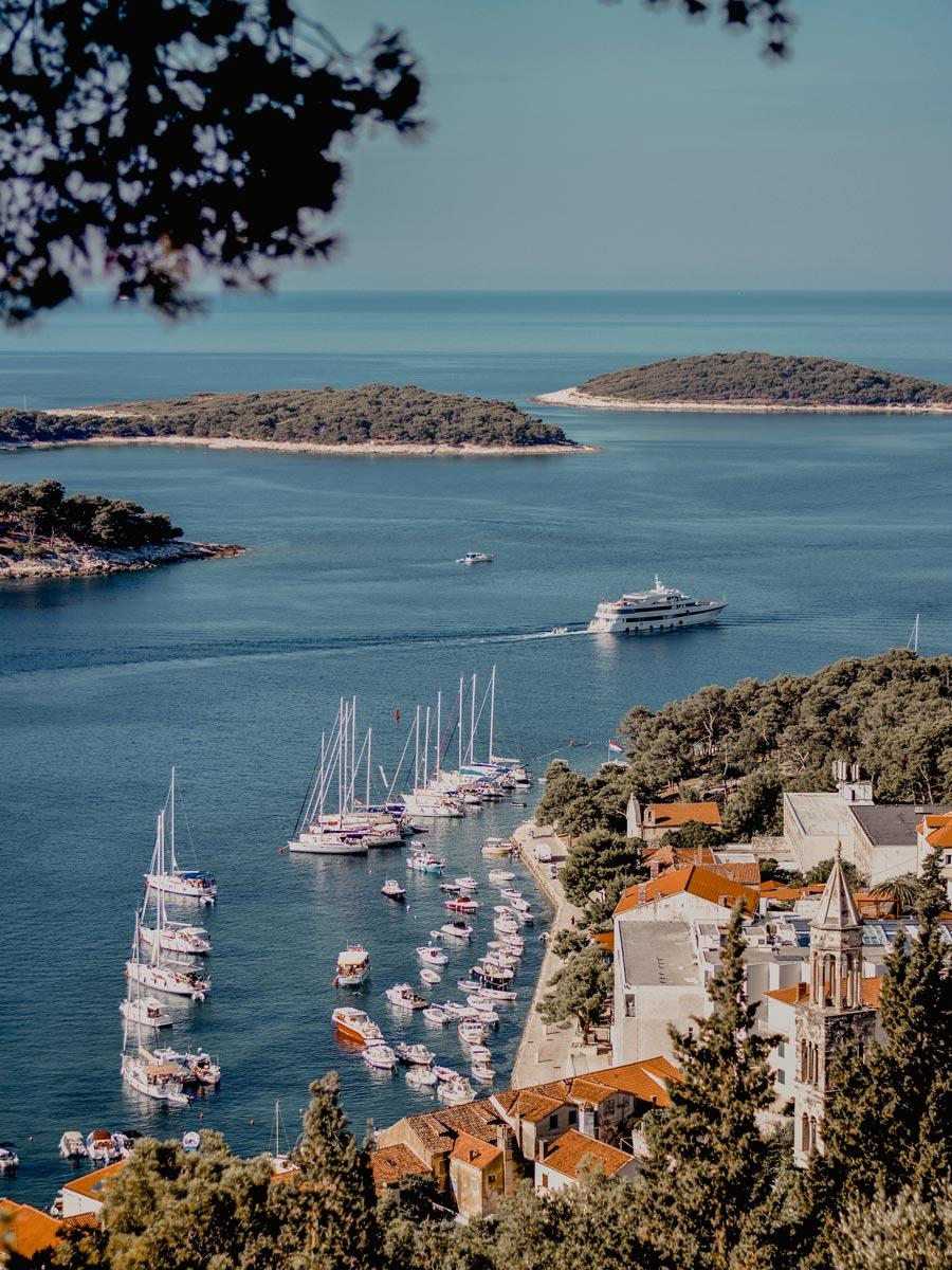 Mediterranean sea islands coast boats sun